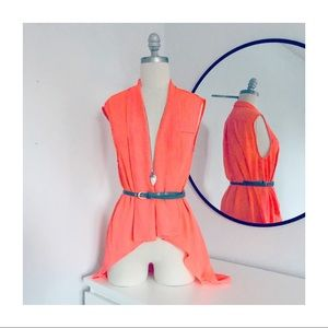 Neon Coral High Low Belted Top